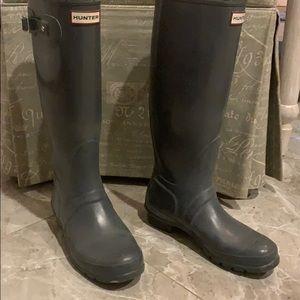 Hunter tall grey rain boots